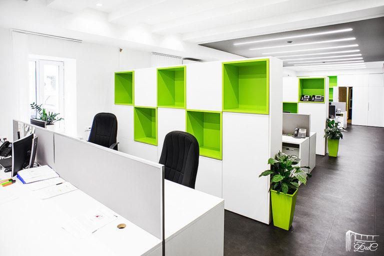 офисные стеллажи на заказ бело-зеленый офис стиль мебель